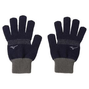 BREATH THERMO gloves (Stretchable and with Edokanoko pattern)[Unisex], Navy × Charcoal