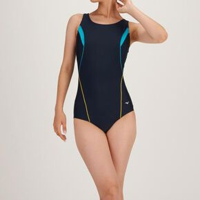 One piece for aqua fitness (U back) [ladies], Navy × Turquoise