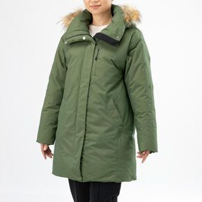 BREATH THERMO Middle weight down travel coat [ladies], Chives Green