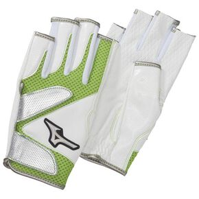 Glove mesh finger type (both hands) (park golf/ground golf) [ladies], White × Green
