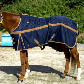 BREATH THERMO Heavy wet rug (upper part/600D, lower part/1200D)(for horse), Dark Navy × Camel
