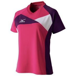 Game shirt(table tennis)[ladies], Berry Pink x Imperial Purple × White