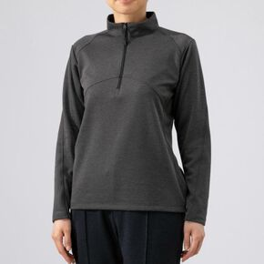BREATH THERMO light inner zip shirt [ladies], Heather Charcoal