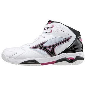 WAVE PRIDE BB3 (basketball)[ladies], White × Black x Pink