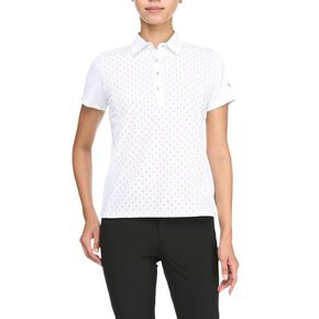 Color dot short sleeve polo [ladies], White