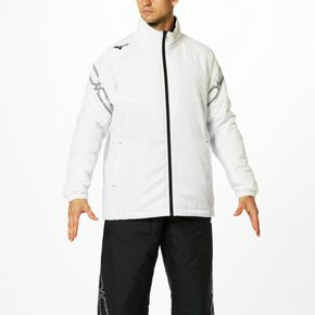 BREATH THERMO quilted jacket (large size)[Unisex], White × Lily White × Black