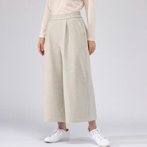 Stretchable flannel wide pants[ladies], Pristine White