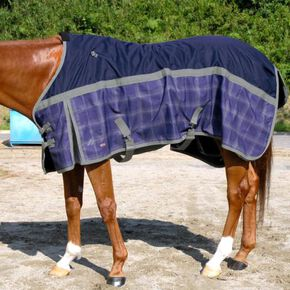 BREATH THERMO heavy wet rug 600D(for horse/check pattern), Purple Check