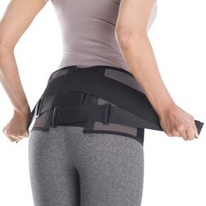 Lumbar pelvic belt (wide type/with auxiliary belt) [Unisex], Black x Gray