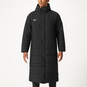 Quilted bench coat[Unisex], Black x Black