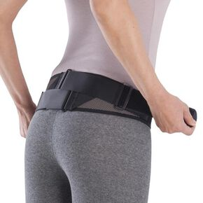 Lumbar pelvic belt (mesh type/with auxiliary belt)[Unisex], Black