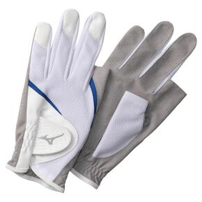 UV gloves (both hands) (ground golf) [Unisex], White × Blue