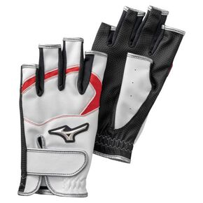 ZEROSPACE Fingerless golf gloves (both hands.)(parkgolf)[ladies], White × Red