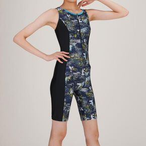 All-in-one for Aqua Fitness (3 cropped length)[ladies], Navy × Yellow