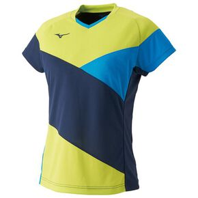 DRY SCIENCE Game shirt(table tennis)[ladies], Dress Navy × Lime Green