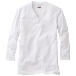 【BREATH THERMO EVERY】V-neck long sleeve shirt (large size)[mens], Off White
