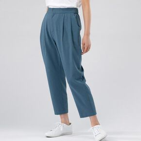 linen-like tapered pants[ladies], Blue Gray